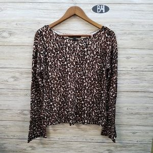 WHBM Leopard Print Long Sleeve Blouse